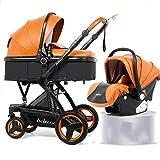 Hacrft PU-Kinderwagen, Hoher Landschafts-Pram 2 in 1 Set, Kinderwagen mit Mehrzweck-Schlafkorb, Geeignet Für 0-3 Jahre Alt(Color:Orange)