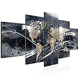Weltkarte Bild Vlies Leinwandbild 5 Teilig Abstrakt Kontinente Grau Schlafzimmer Flur 106853c