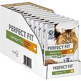 Perfect Fit Katzenfutter Nassfutter Senior 7+ mit Truthahn & Karotten in Sauce, 12 Portionsbeutel (12 x 85g)