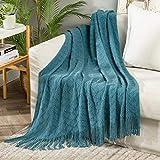 MIULEE Kuscheldecke Diamant Fleecedecke Decke Weich Flauschig Einfarbig Wohndecken Couchdecke Sofadecke Blanket für Bett Sofa Schlafzimmer Büro, 127x153 cm Blau Grün