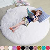 Weißer runder Teppich für Schlafzimmer, flauschiger Kreis-Teppich Kinderzimmer, pelziger Jugendzimmer, zotteliger Plüschteppich Schlafsaal, weißer Teppich, niedliche Raumdekoration Baby