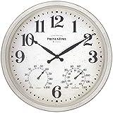 PresenTime & Co Farmhouse-Serie Wanduhr mit Thermometer und Hygrometer, 40,6 cm, Weiß