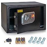 Anadol Tresor Deluxe, Elektronischer-Safe mit Zahlenschloss, Fingerabdruck-Sensor, Doppelbolzen Verriegelung, Einbau-Tresor, Wandtresor, Stahl-Safe, 25×35×25 cm, Gewicht 8,2kg – 16 Liter V