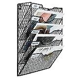 EasyPAG A4 Hängeregal mit 5 Etagen, Drahtgeflecht, in Ablage, Wandtasche, Aktenhalter, Zeitschriftenhalter, schwarz