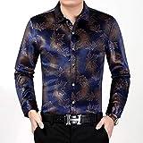 CDSS Langarmhemd, Herren Wollhemd Mercerized Slim Fit Langarm Business Kariertes Freizeitkleid Umlegekragen Button-Down-Anzug,Blue,XL