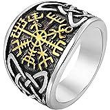 LH&BD Männer Edelstahl Wikinger Kompass Keltische Knoten Ring Nordic Runic Trinity Knotenband Unisex Vintage Mode Gothic Stil Schutz Schmuck,Gold,11