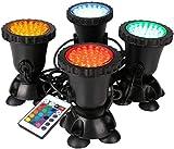 GreenSun Gartenteich Lampe RGB Teichbeleuchtung Unterwasserstrahler 8W Spot Lampe 36 Leds Unterwasserleuchte Gartenbeleuchtung Unterwasserscheinwerfer