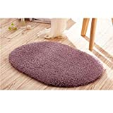 OHHCO Bathroon-Matte 50 * 30cm Top Badezimmer Teppich Badmatte Super Magic Rutschhemmende Pad Raum Oval-Teppichboden-Matten-Light Grey0 * 30 Duschmatte Badvorleger (Color : Purple, Size : 50 * 30)