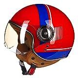 BDTOT ECE Jet Helme Motorrad Roller Helm Chopper Bike Half Face Retro Moto Cruiser Roller Helm Linse Silber Beschichtet, um Die Blendung zu Blockieren ABS Material für Unisex (54~60)