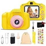 Kinderkamera, 2 Zoll HD 1080P Digitalkamera, Spielzeug für Kinder, Geschenk für Mädchen, Jungen, mit SD-Karte 32 GB, Mini-Kamera (Gelb)