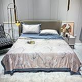 AZSOGOOD Vierteilige kühle Sommerdecke, gewaschener Tencel-Bettdecke, weiche und atmungsaktive klimatisierte Quilt, Gewaschene Eisdecke, Bettwäsche und Kissenbezug-Q_180x220cm (4 stücke)