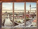 UYEDSR Wandsticker Möbel Skyline von Berlin Fenster 3D Wandsticker Wanddekoration 3D Wandaufkleber Wandtattoo 92x62cm