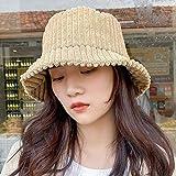 QIANWEIXI Fischerhut Cord Winter Eimer Hut Für Frauen Mädchen Mode Solid Panama Angelkappen Herbst Outdoor Flache Fischer Hüte Motorhaube Femme-Farbe: 1