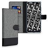 kwmobile Hülle kompatibel mit Samsung Galaxy M11 - Kunstleder Wallet Case mit Kartenfächern Stand in Grau Schw