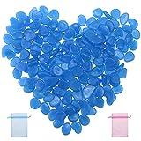 JaneYi 200 Stück Blau Leuchtsteine Kieselsteine Leuchtend Garten Nachtleuchtende Steine Floureszierende Pebble Steine Leuchtkiesel Harz Dekorative Steine für Aquarium Garten Flur Kinderzimmer
