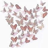 beihuazi® 3D Schmetterlinge Deko Wand Wandsticker Aufkleber Wandtattoo für Wohnzimmer Kinderzimmer Türen Fenster Badezimmer Kühlschrank(36 Stück Roségold)