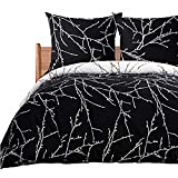 Bedsure Bettwäsche 200X200 Mikrofaser 3 teilig - schwarz Bettbezug Set mit schickem Zweige Muster, weiche Flauschige Bettbezüge mit Reißverschluss und 2 mal 80x80cm Kissenbezug