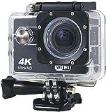 H&J 4K Wifi Action Kamera Full HD Wasserdichte Cam 98FT Unterwasser-Camcorder 170° Weitwinkel Sportkamera mit wasserdichtem Gehäuse Schwarz
