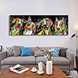 Abstrakte Tiere Kunst Leinwand Gemälde an der Wand Poster und Drucke Bunte Hunde Leinwand Bilder Kinderzimmer Dekoration 60x180cm Rahmenlos