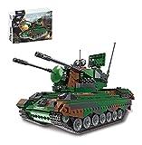 RSWLY Technics Panzer Modellbausätze, 1352 Teile German Flakpz Gepard Anti-Flugzeug Artillerie WW2 Military Panzer Bauset für Kinder und Erwachsene, Bausteine Kompatibel mit Lego Technic