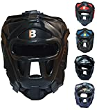 Bout3® Boxen Kopfschutz Helm für Kampfsport Muay Thai Kickboxen Sparring Muay Thai Boxen Taekwondo Boxtraining Boxsack MMA Gesichtsschutz Boxhelm mit Gitter (Schwarz, L)