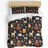 Weiche Kinder Bettdecke Bettdecke Set Bett Set für Jungen Mädchen Süße Tierbär Fuchs Eichhörnchen Cartoon Muster Bettwäsche-Sets Schlafzimmer Dekor Enthalten 1 Bettdecke mit 2 Kissenbezügen Twin