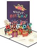 yumcute 3D Geburtstagskarte, Pop Up Geburtstagskarte, Alles Gute zum Geburtstag Motiv Karte mit Umschlag, Für Familie, Freunde, Liebhaber(Lila)