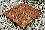 SAM Holzfliese 02 einzeln 30 x 30 cm Hartholzfliesen aus Akazienholz für Balkon Terrasse Garten mit Drainage Klicksy