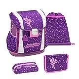 Belmil Ergonomischer Schulranzen Set 4 - teilig Größen verstellbar Mädchen 1. 2. 3. 4. klasse - gepolsterter Hüftgurt und Brustgurt/Fee, Fairy/Lila, Purple (404-20 Fairy)