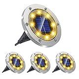 4 Solar Bodenleuchten, Solarleuchten für Außen, LEDS Solarleuchten für Außen, Gartenleuchten IP67 Wasserdicht Solarlampen Solarlicht Garten Licht für Rasen, Auffahrt, Gehweg, Garden