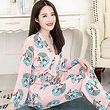 Sexy Frauen Pyjamas,Bequeme Sexy Pjs Zweiteilige Nachtwäsche Soft Set Cardigan V-Ausschnitt Frischer Kimono Japanischer Stil Faltbarer Fan Druckt Rosa Nachtkleid, Home Service Anzug Geschenk Fü