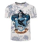 XGXQBS Männer Sommer 3D-Drucke Rundhalsausschnitt T-Shirt, Harry Potter Thema Gryffindor Ravenclaw Hufflepuff Slytherin Kurzarm T-Shirt,C,XXXXL