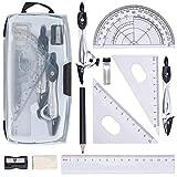 Geometrie Set 10StückGeometrie Set Compass für Geometrie Math Geometry Kit .Inkl Lineal Winkelmesser Kompass Bleistiftspitzer Bleistift, Bleistiftmine und Radiergummi (Mit Aufbewahrungsbox)