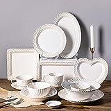 WDSWBEH 52 Stück Geschirr-Sets Für 6, Weiße Elegante Keramik-geschirrsets, Komplettes Porzellantisch-Service-Set, Teller/Schalen/Kaffeetassen/Tassen, Mikrowellen- Und Spülmaschinenfest