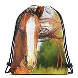 Brauner Pferde-Maulkorb mit Kordelzug, Schultertasche, Reiserucksack, leicht, für Männer und Frauen, 42,9 x 35,6 cm
