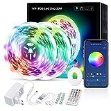 WiFi LED Strip 20m, Rilitor Alexa 5050 RGB LED Streifen, Smart App Control, Musiksync, mit Fernbedienung, Kompatibel mit Alexa, Echo und Google Home, 2 Rollen * 10M