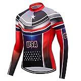 USA Team Radtrikot Langarm Herbst Herren Mountainbike Kleidung winddicht Fahrradbekleidung schnell trocknend Fahrradshirt Farbe 5 XXL