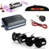 TKOOFN KFZ Summer Einparkhilfe Rückfahrhilfe 4 hinten Sensoren Hinter mit LED Farb Display Auto Parken Sensor System Pieper Radar Kit Hinter Schw