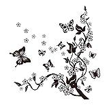 HALLOBO® XXL Wandtattoo Blumenranke 1 Wandtattoo 3 Kombinationen Wandaufkleber Schmetterlinge Wandsticker Wall Sticker Wohnzimmer Schlafzimmer Dek