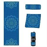 HHBB Yogamatte Bedrucktes Yoga-Handtuch rutschfest Fitness Yogamatte Pilates Yoga Decke 183 × 61 cm blau bedruckt