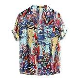 Outwears Herren Hemd Kurzarm Shirt Mode Graffiti Männer Shirt für Sommer 2020 New Loose Hawaiihemd Stehkragen Male Shirt Gr. 56, blau