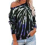Bluse Damen Elegant Schulterfrei T Shirt Tunika Shirt Casual Sommer Tops Rundhalsausschnitt Fledermausärmel Langarm Loose Bunt Vintageoberteile Sexy Elegant Casual Party Hawaii Tops D-Blue(A) L