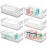 mDesign breiter Aufbewahrungsbehälter mit Griffen für Kinder/Kinderbedarf in Küche, Speisekammer, Kinderzimmer, Schlafzimmer, Spielzimmer – für Snacks, Flaschen, Babynahrung – 6 Stück – transparent