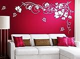 Grandora Wandtattoo Blumenranke & Schmetterlinge I violett (BxH) 190 x 104 cm I Wohnzimmer Schlafzimmer Sticker Aufkleber Wandaufkleber Wandsticker W829