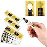 200 Stück Nagel-Schablonen, Modellier-Schablone selbstklebend für Gel-Nägel, Nagel-Verlängerung Golden Schablonen (200 Stück)