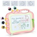 DUTISON Magnetische Maltafel Zaubertafeln für Kinder Löschbar Magnettafel Zaubermaltafel Zeichenbrett mit 3 Briefmarken für 3 4 5 Jahre alt (Rosa)