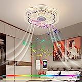 Bluetooth Ventilator Deckenleuchte mit Fernbedienung und Musik Lautsprecher Leise Deckenventilator mit Beleuchtung 80W LED Fernbedienung Dimmbar Kinderzimmer Unsichtbares Fan Deckenlampe 50cm