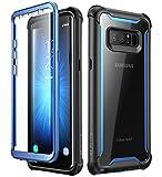 i-Blason Hülle für Samsung Galaxy Note 8 Case 360 Grad Handyhülle Bumper Case Transparent Schutzhülle Clear Cover [Ares] mit integriertem Displayschutz, Blau