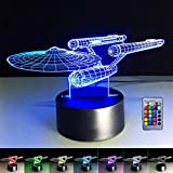 3D illusion lamp, spaceship, 3D LED night light, 7 color changes, push button switch, desk decoration, lamps, birthday present, with acrylic, flat, power supply via USB or 3 AA battery