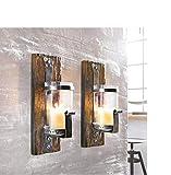Pureday Wandkerzenhalter Wood rustikal Pinienholz Eisen Braun